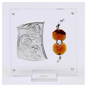Ricordino Sacra Famiglia con cristalli ambra e lamina argento 5x5 cm  s1