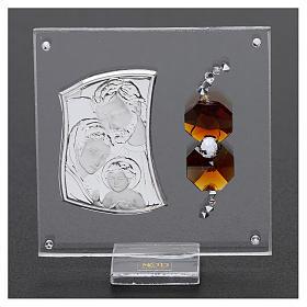 Ricordino Sacra Famiglia con cristalli ambra e lamina argento 5x5 cm  s2