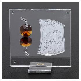 Ricordino Sacra Famiglia con cristalli ambra e lamina argento 5x5 cm  s3