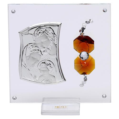 Ricordino Sacra Famiglia con cristalli ambra e lamina argento 5x5 cm  1