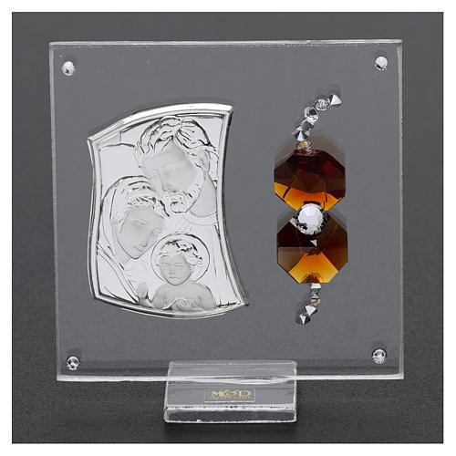 Ricordino Sacra Famiglia con cristalli ambra e lamina argento 5x5 cm  2