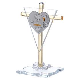 Bonbonnière pour Baptême Croix en verre Murano 10x5 cm s2