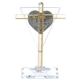 Bonbonnière pour Baptême Croix en verre Murano 10x5 cm s3