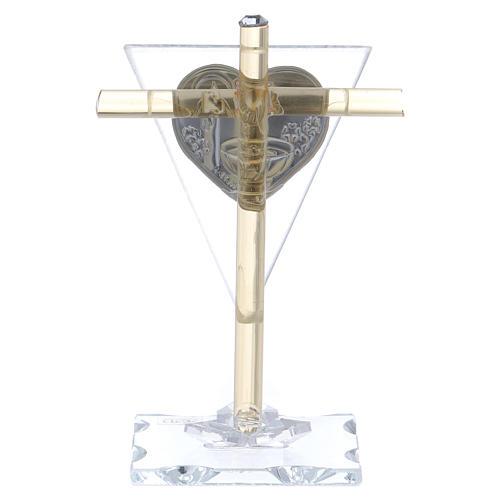 Bonbonnière pour Baptême Croix en verre Murano 10x5 cm 3