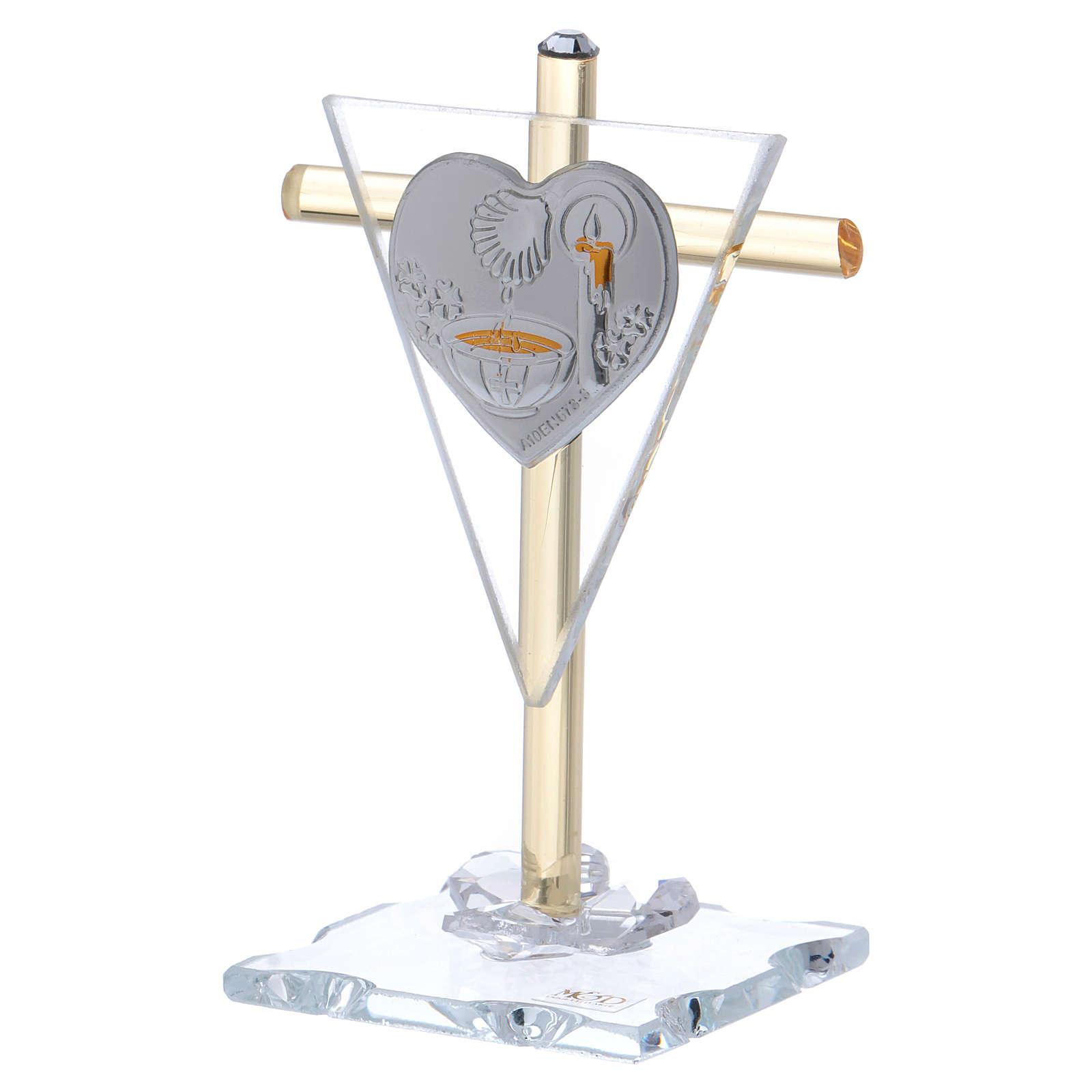 Pamiątka Chrztu Krzyż ze szkła Murano 10x5 cm 3
