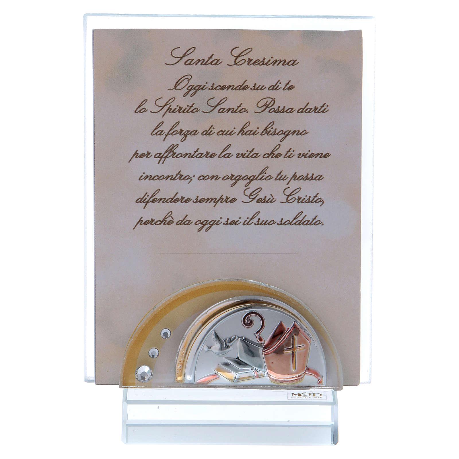 Bomboniera Santa Cresima Portafoto vetro cristallo 10x5 cm 3