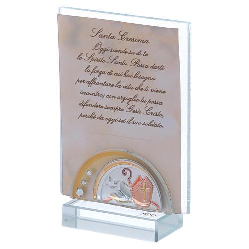 Bomboniera Santa Cresima Portafoto vetro cristallo 10x5 cm 2