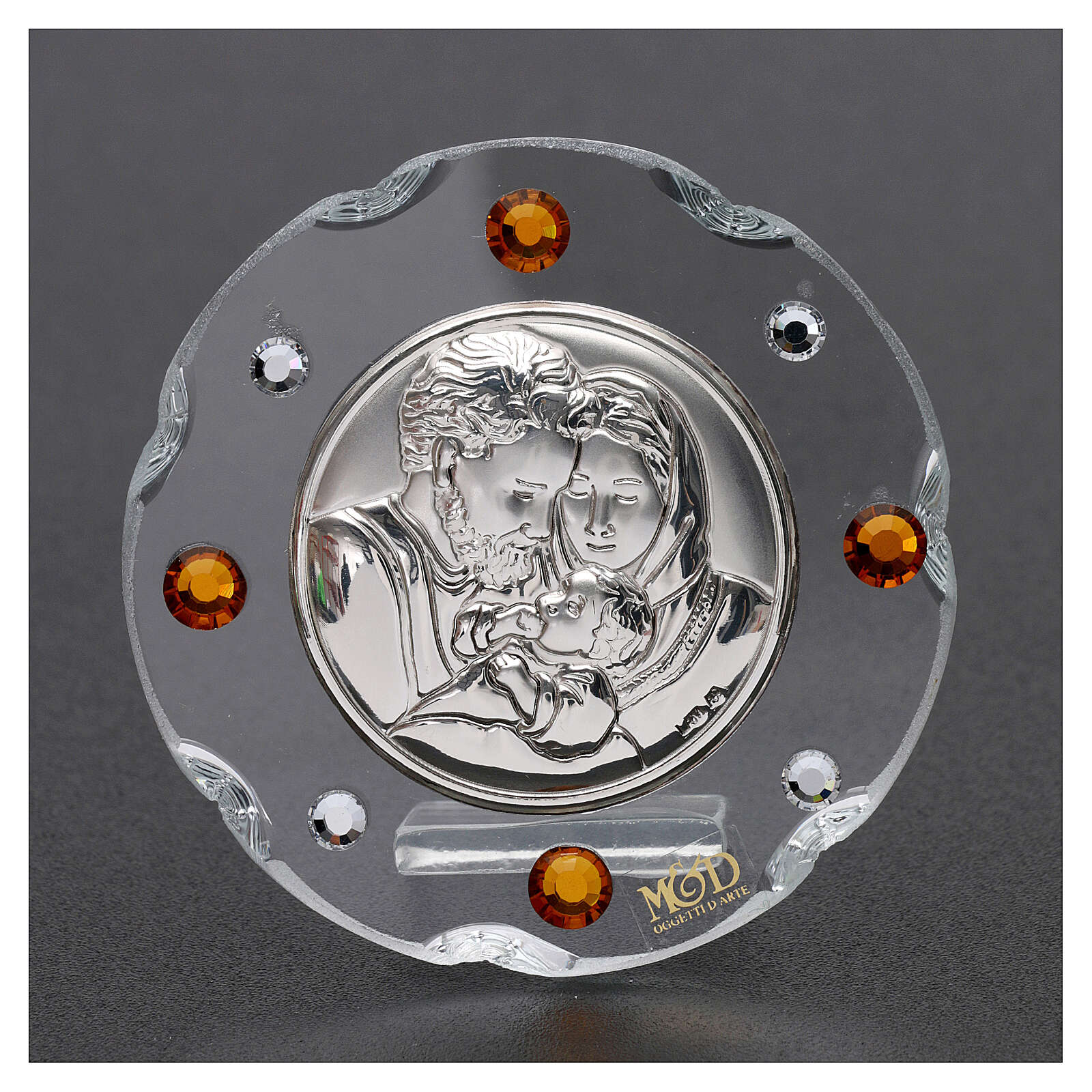 Round favor Holy Family amber rhinestones 2 in 3