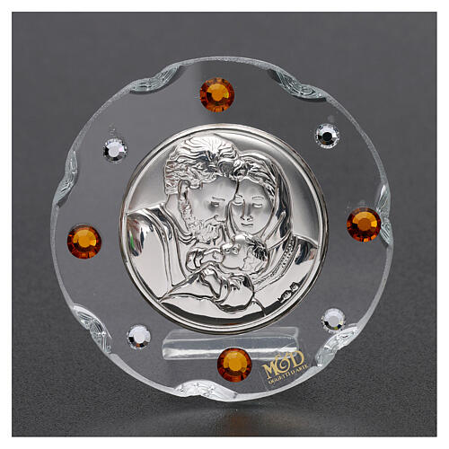 Round favor Holy Family amber rhinestones 2 in 2