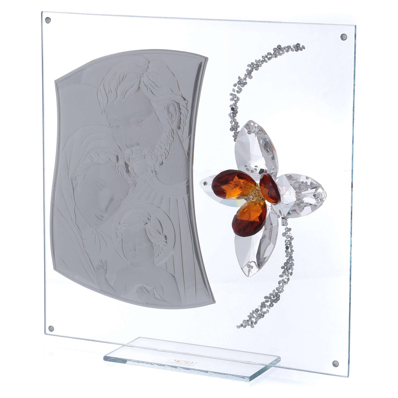 Quadretto regalo con Sacra Famiglia e fiore 25x25 cm 3