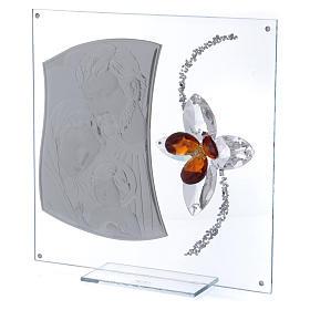 Quadretto regalo con Sacra Famiglia e fiore 25x25 cm s2