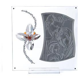 Quadretto regalo con Sacra Famiglia e fiore 25x25 cm s3