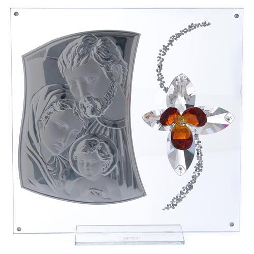 Quadretto regalo con Sacra Famiglia e fiore 25x25 cm 1