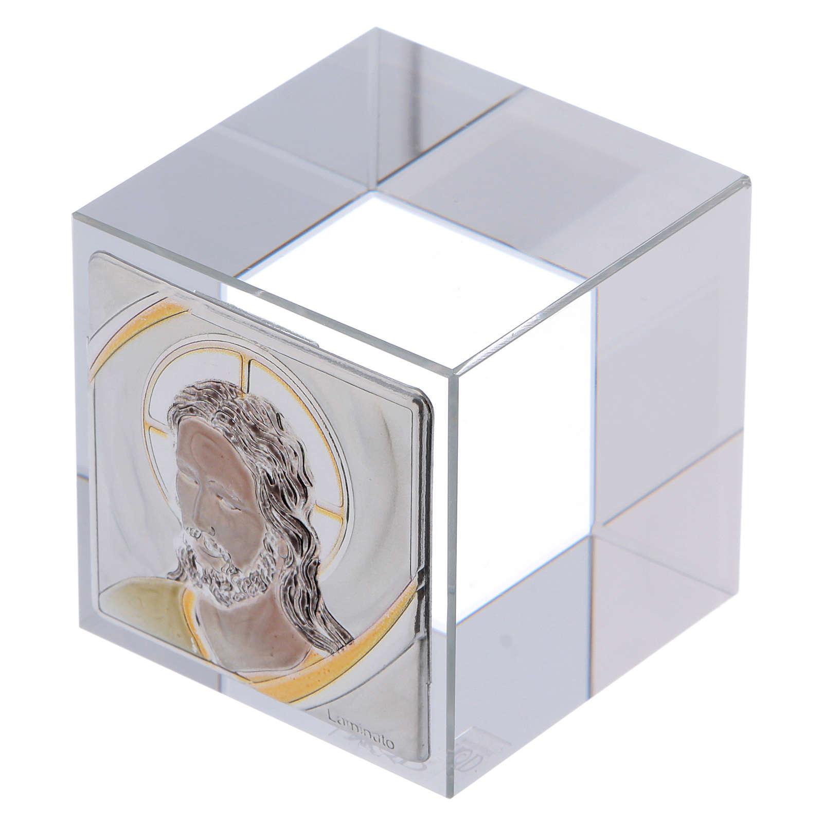 Bomboniera cubo fermacarte con Cristo 5x5x5 cm 3