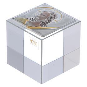 Bomboniera cubo fermacarte con Cristo 5x5x5 cm s1