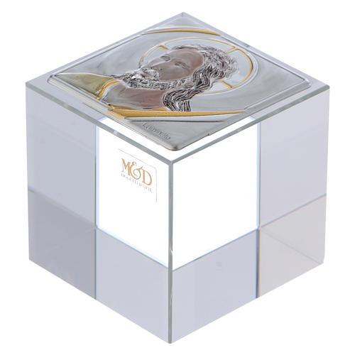 Bomboniera cubo fermacarte con Cristo 5x5x5 cm 1