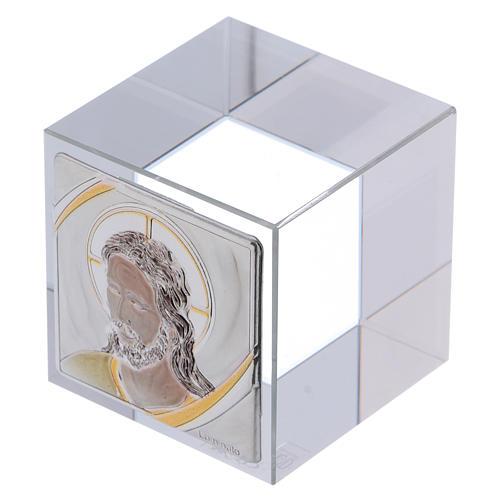 Bomboniera cubo fermacarte con Cristo 5x5x5 cm 2