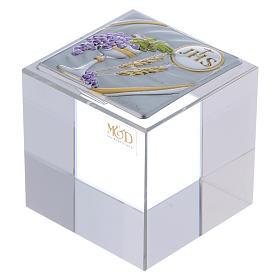 Bomboniera Comunione: fermacarte 5x5x5 cm s1