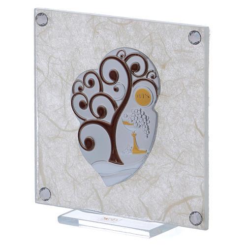 Cuadrito bombonera Árbol de la Vida para Comunión 10x10 cm 2