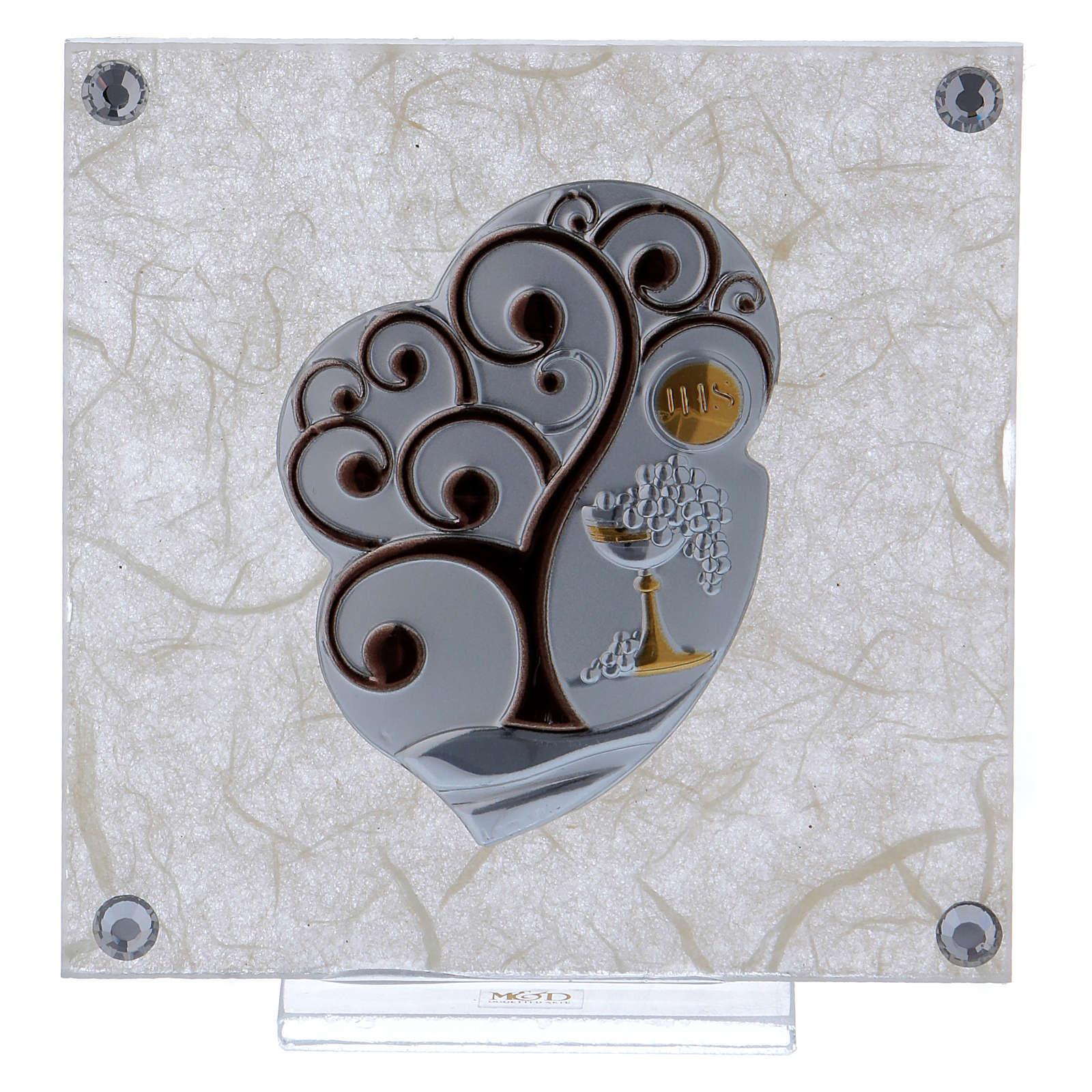 Cadre bonbonnière Arbre de la Vie pour Communion 10x10 cm 3
