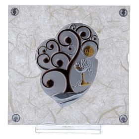 Cadre bonbonnière Arbre de la Vie pour Communion 10x10 cm s1