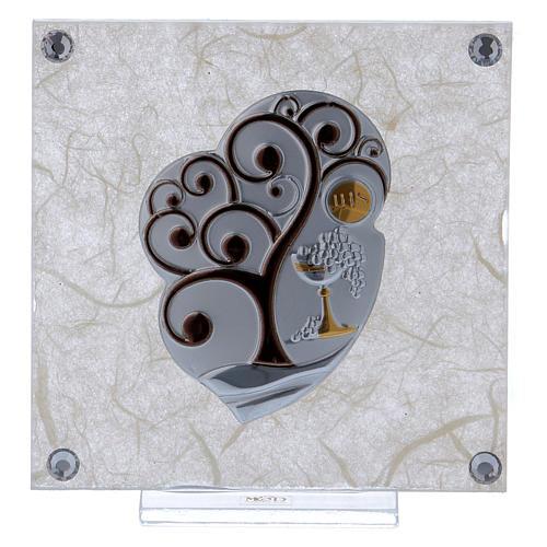 Cadre bonbonnière Arbre de la Vie pour Communion 10x10 cm 1