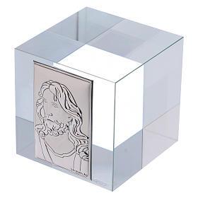 Recuerdo pisapapeles rostro de Cristo sobre lámina 5x5x5 cm s2