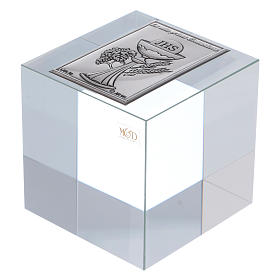 Ricordino Prima Comunione cubo cristallo 5x5x5 cm s1