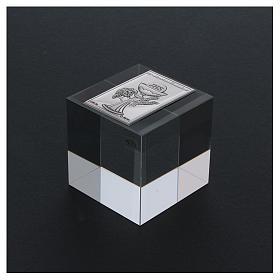 Ricordino Prima Comunione cubo cristallo 5x5x5 cm s3