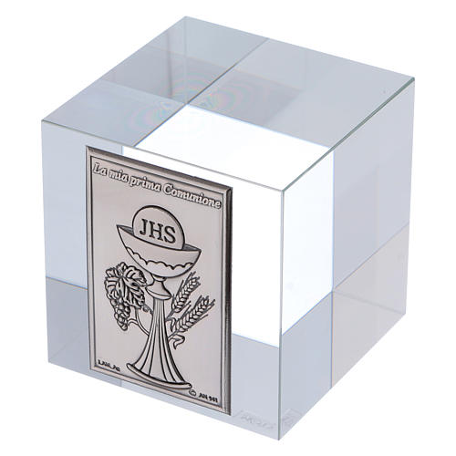 Ricordino Prima Comunione cubo cristallo 5x5x5 cm 2