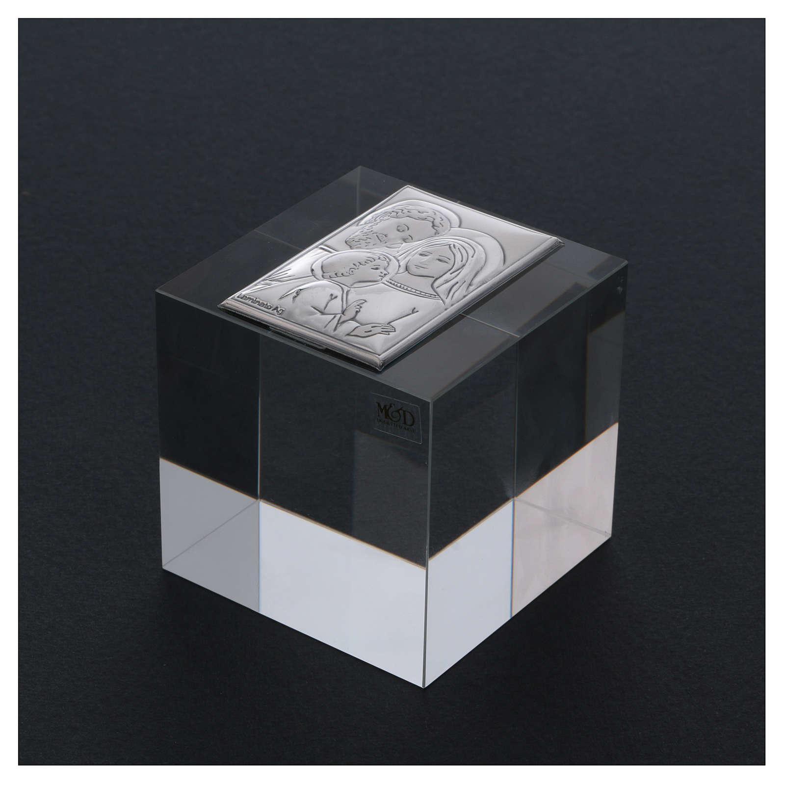 Bomboniera Sacra Famiglia ferma carte cristallo 5x5x5 cm 3