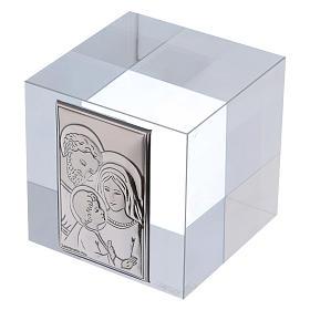 Bomboniera Sacra Famiglia ferma carte cristallo 5x5x5 cm s2