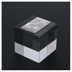 Bomboniera Sacra Famiglia ferma carte cristallo 5x5x5 cm s3