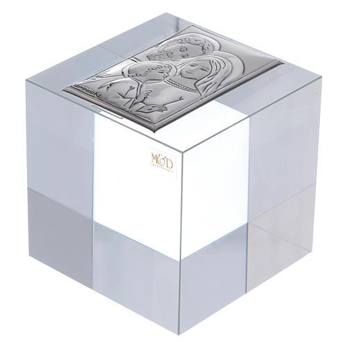Bomboniera Sacra Famiglia ferma carte cristallo 5x5x5 cm 1