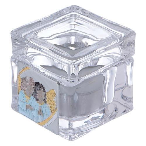 Ricordino Battesimo scatoletta con lumino 5x5x5 cm 1