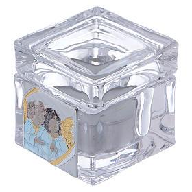 Pamiątka Chrztu pudełeczko z podgrzewaczem tealight 5x5x5 cm s1