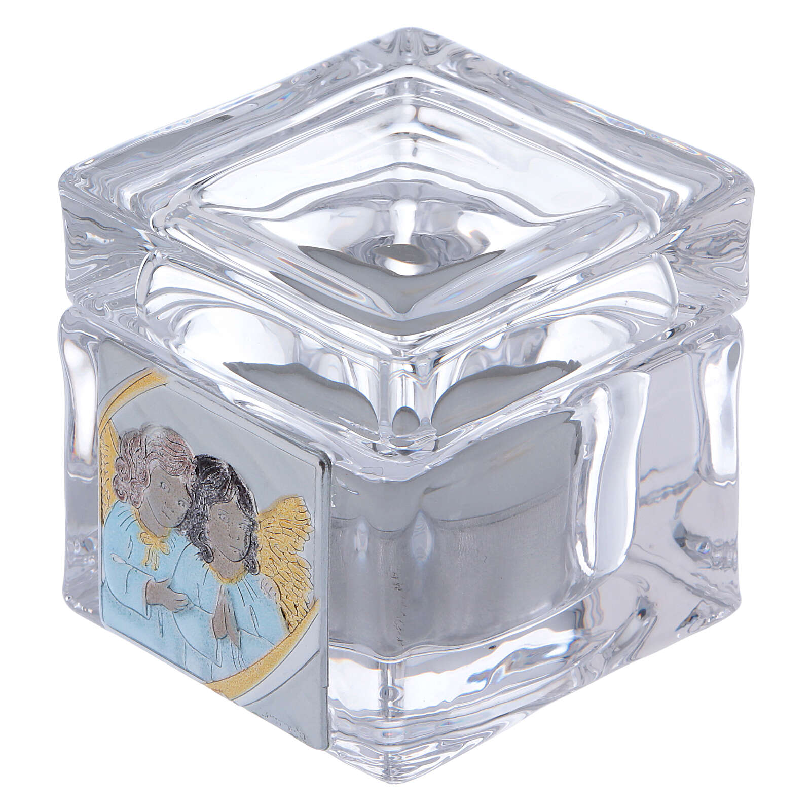 Christening souvenir box with tea light candle 2x2x2 in 4