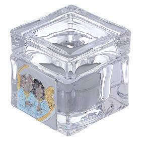 Christening souvenir box with tea light candle 2x2x2 in s1