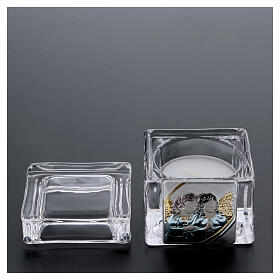 Christening souvenir box with tea light candle 2x2x2 in s3