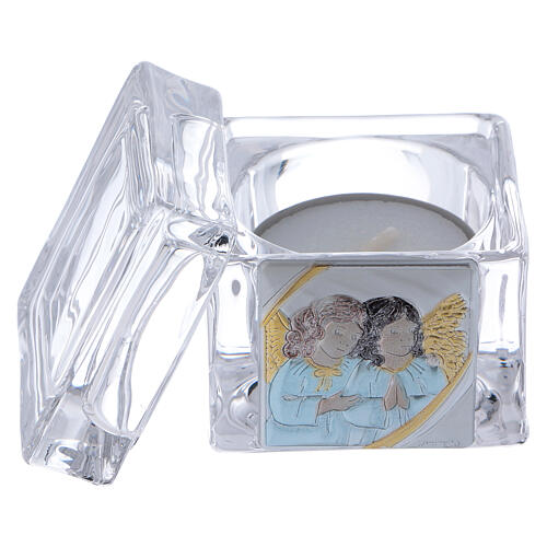 Christening souvenir box with tea light candle 2x2x2 in 2