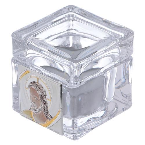 Boîte souvenir avec visage de Christ 5x5x5 cm avec bougie 1