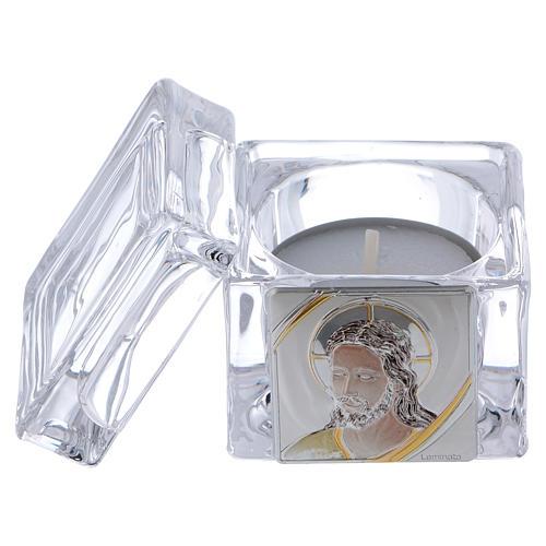 Boîte souvenir avec visage de Christ 5x5x5 cm avec bougie 2