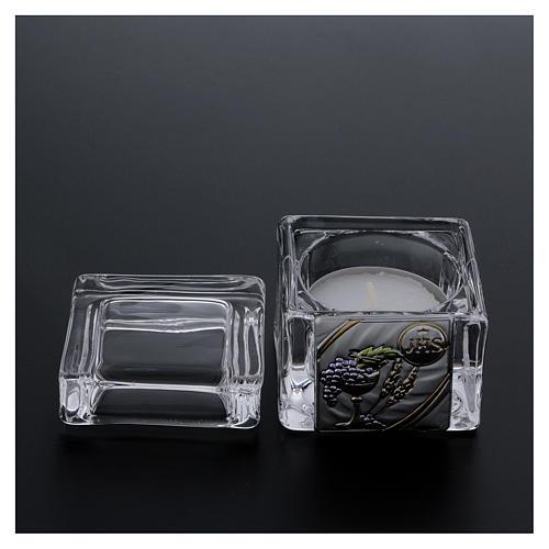 Pamiątka Komunii pudełeczko 5x5x5 cm z podgrzewaczem tealight 3