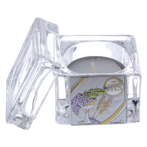 Holy Communion souvenir box with tea light candle 2x2x2 in 2