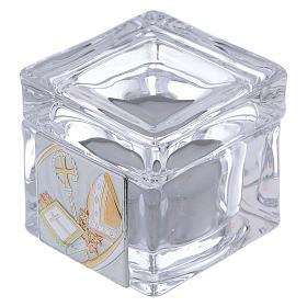 Pamiątka Bierzmowania pudełeczko 5x5x5 cm z podgrzewaczem tealight s1