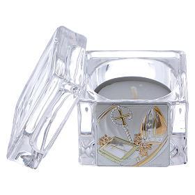 Pamiątka Bierzmowania pudełeczko 5x5x5 cm z podgrzewaczem tealight s2