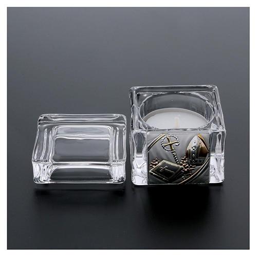 Pamiątka Bierzmowania pudełeczko 5x5x5 cm z podgrzewaczem tealight 3
