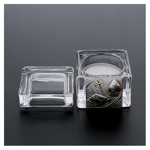 Confirmation souvenir box with tea light candle 2x2x2 in 3