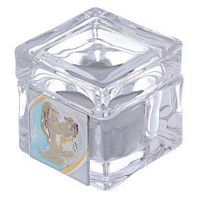 Bombonera Bautismo caja 5x5x5 cm con lamparilla Maternidad s1