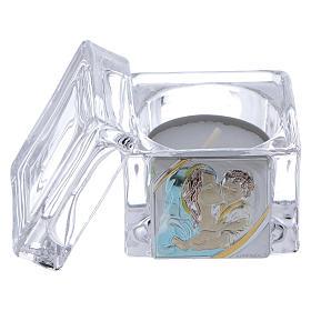Pamiątka Chrztu pudełeczko 5x5x5 cm z podgrzewaczem tealight Macierzyństwo s2